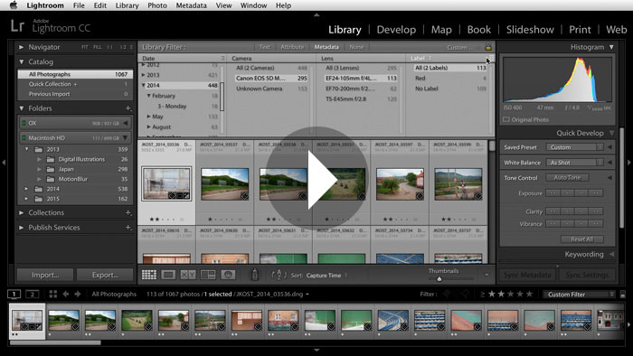 Getting Started in Lightroom CC: Using Filters to Quickly Find Photos