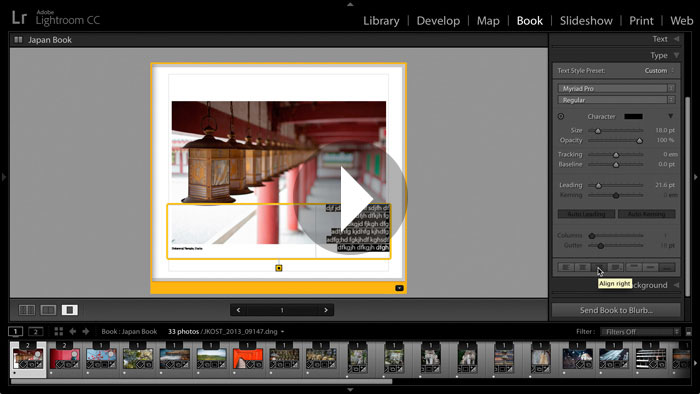 Getting Started in Lightroom CC: Working with Text in The Book Module